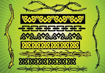 Barbed Wire Tribal Vectors - Free vector #157385