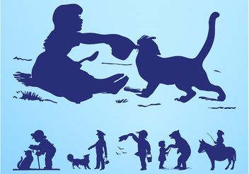 Kids Playing with Animals - vector gratuit #157665