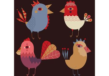Decorative Bird Vectors - Kostenloses vector #157795