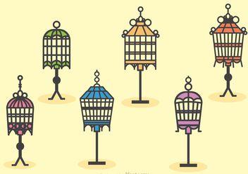 Vintage Bird Cage Stand Vectors - Kostenloses vector #157805