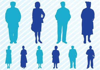 Elderly People Silhouettes Set - vector gratuit #157865