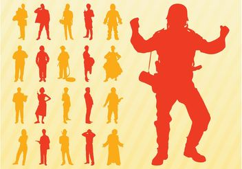 Silhouettes Of People Set - Free vector #157945