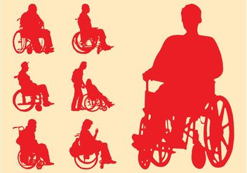 Disabled People Silhouettes - Free vector #157975