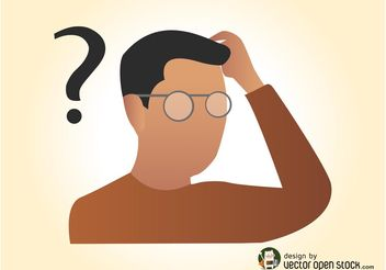 Man With Question Mark - vector gratuit #158115