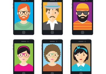 Hipster Vector Selfies - Free vector #158315