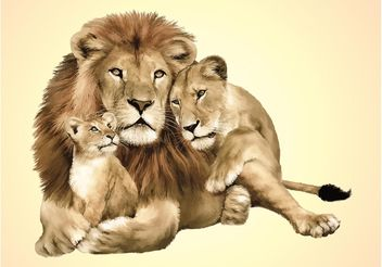 Lion Family Vector - vector gratuit #158425