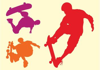 Silhouette Skaters - Free vector #158645