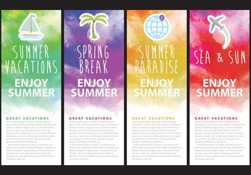 Watercolor Vacation Banner Vectors - бесплатный vector #159535