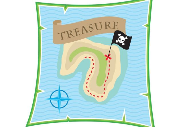 Treasure Map Vector - Free vector #159605