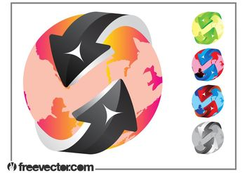 Colorful Globe Designs - vector gratuit #159655