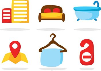 Color Hotel Icons Vectors - Free vector #159955
