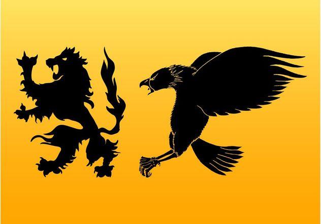 Heraldic Animals Silhouettes - Free vector #160185