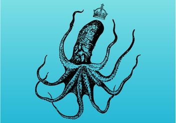 Octopus With Crown - vector gratuit #160235
