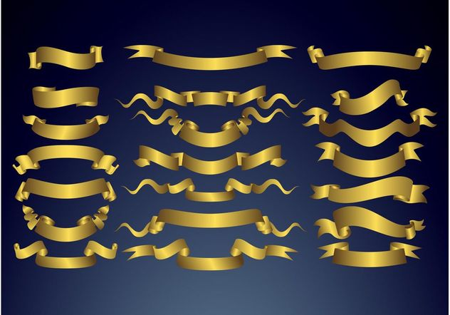 Golden Banners - Free vector #160955