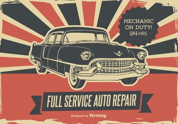 Retro Car Repair Poster - Free vector #161315