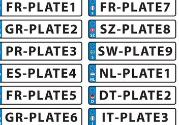 European License Plate Vectors - Free vector #161955