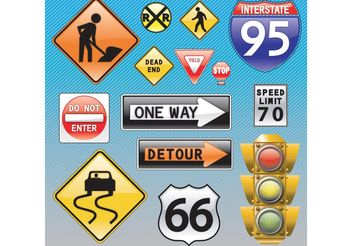 Traffic Signs - vector gratuit #162085