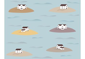Houses on Islands Pattern Vector - бесплатный vector #162185