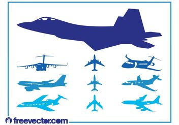 Airplanes Graphics Set - Free vector #162505