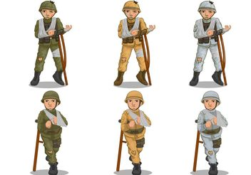 Wounded Soldier Vectors - бесплатный vector #162565