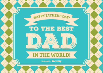 Father's Day Checked Background Message - Free vector #162715
