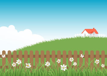 Wooden Picket Fence Farmhouse - Free vector #163055