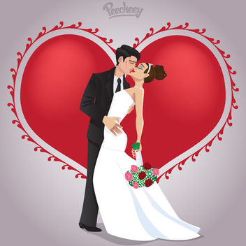 Kissing Wedding Couple in Love - vector gratuit #163135