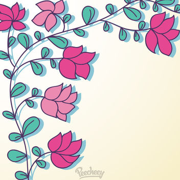 Green Branch with Minimal Red Flowers - Free vector #163175