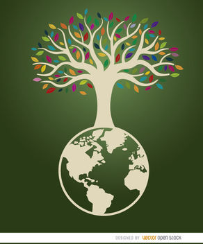 Earth tree ecologic poster - Free vector #163315
