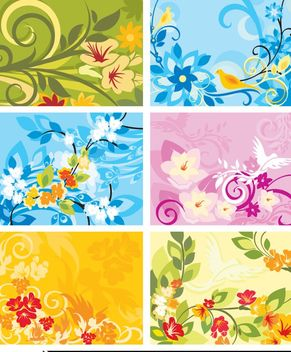 Colorful Abstract Floral Background Set - Free vector #163395