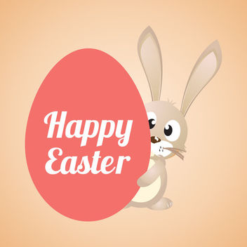 Happy Easter Cartoon Banner - vector gratuit #163455