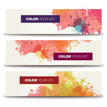 Colorful Paint Splashed Banner Set - бесплатный vector #163525