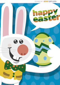 Happy Easter funny bunny background - vector gratuit #163595