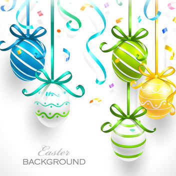 Easter Eggs Hanging with Ribbon - Kostenloses vector #163605