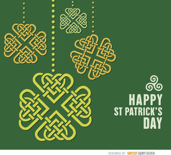 St. Patrick's Celtic shamrocks hearts background - Free vector #163645