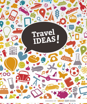 Misc. objects icons travel background - vector #163725 gratis