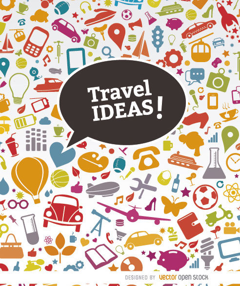 Misc. objects icons travel background - vector gratuit(e) #163725