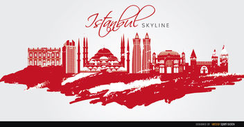 Istanbul landmarks painted red - Free vector #163745