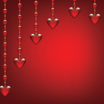 Glossy Hearts Hanging on Beads - vector gratuit #163845