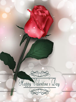 Realistic Rose Valentine Card - Free vector #163875