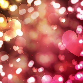 Colorful Glowing Bokeh Valentine Hearts Background - бесплатный vector #163915