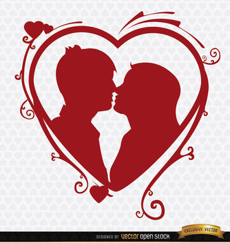 Kissing couple heart swirls background - vector gratuit #163985