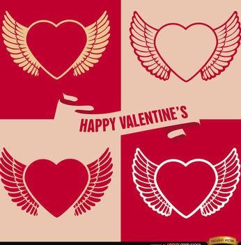 4 Valentine's winged heart backgrounds - vector gratuit #164025