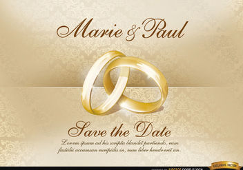 Wedding invitation with rings - Free vector #164055