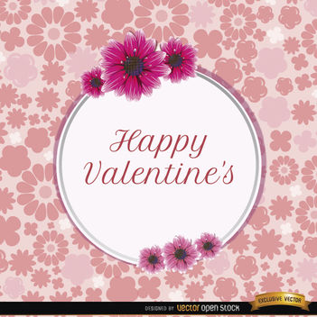Happy Valentine's daisies card - Free vector #164075
