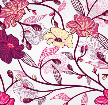 Seamless Retro Floral Pattern Background - Free vector #164115