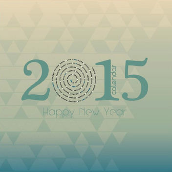 2015 Circular Typography Calendar on Triangular Mosaic - vector gratuit(e) #164235