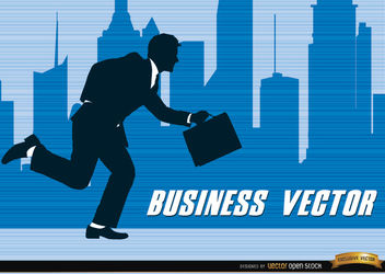 Businessman silhouette running city - Free vector #164255