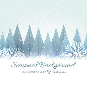 Xmas Trees on Snowy Winter Landscape - Free vector #164325