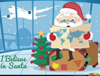 Santa Claus traveling airport - Free vector #164385